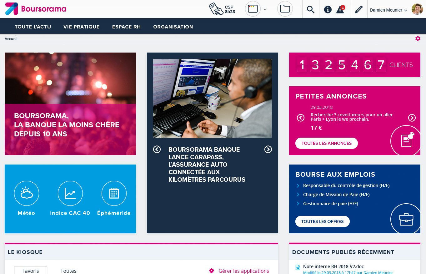 Digital Initiative - Boursorama - espace intranet